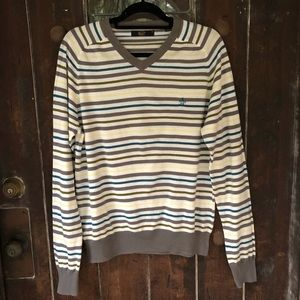 Original Penguin Pima Cotton V-neck Stripe Sweater